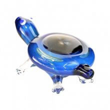 Blue Glass Turtle Hand Pipe